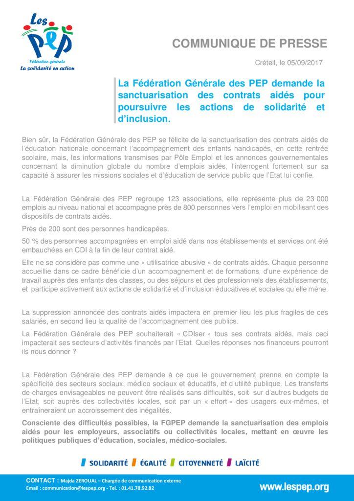 thumbnail of communiqué de presse FGPEP-SANCTUARISATION DES CONTRATS AIDES -05.09.2017
