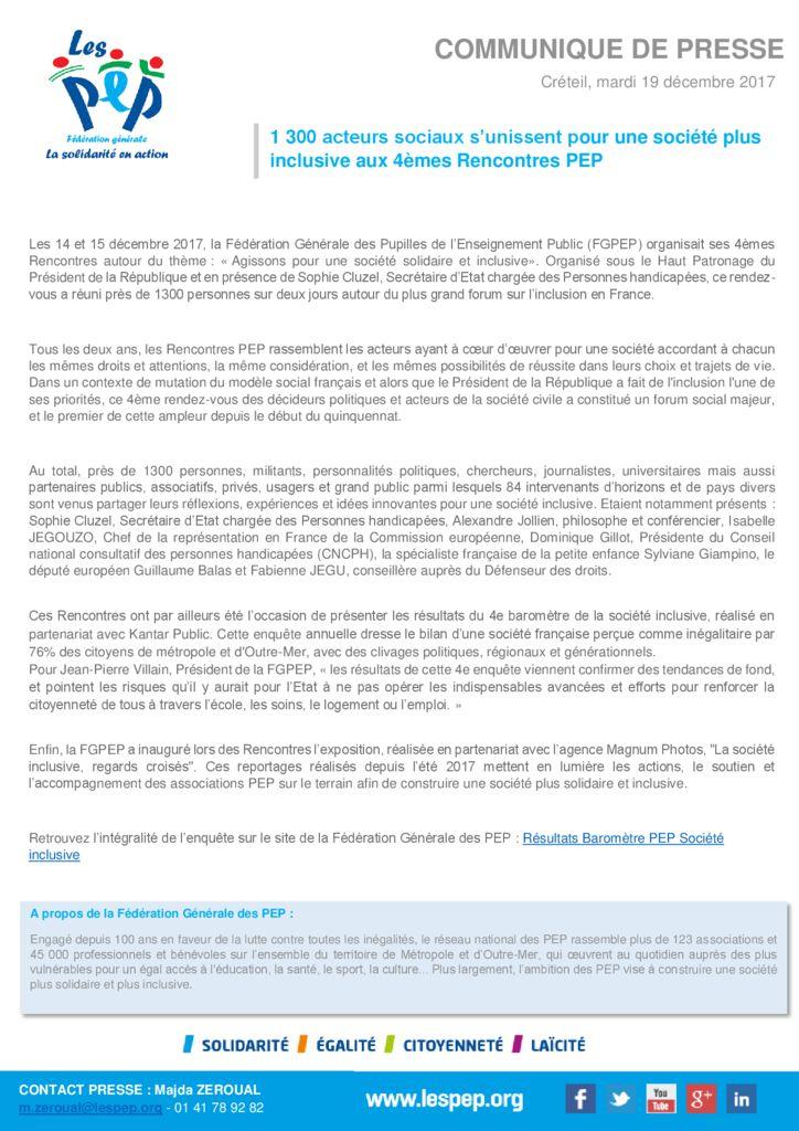 thumbnail of Communique FGPEP 4eme Rencontres PEP 2017-19.12.17